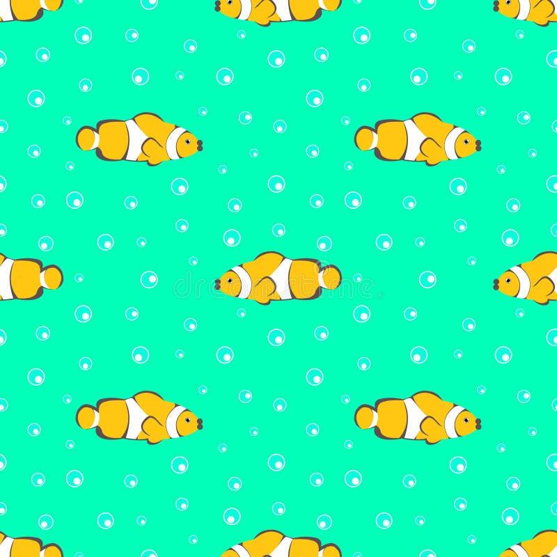 Nahtloses Vektormuster mit gelben Fischen und Blasen auf dem grünen Hintergrund lizenzfreie abbildung