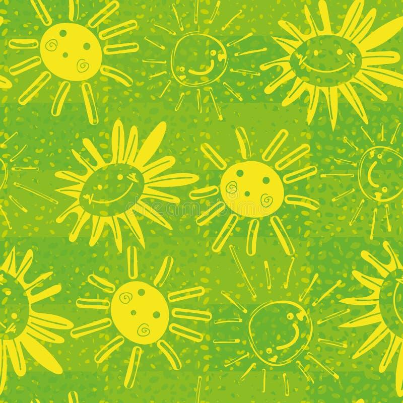 Nahtloses Vektormuster mit glücklichen Sonnen und Sonnenblumen lizenzfreie abbildung