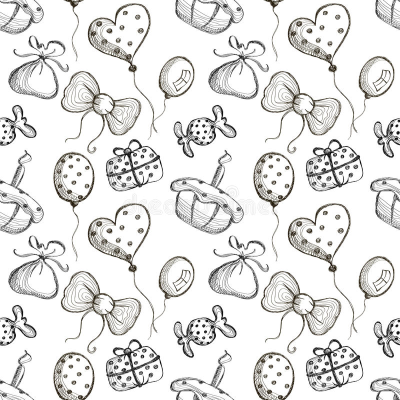 Nahtloses Vektormuster mit Hand gezeichneten Luftballonen, Bögen, Geschenke, Kuchen, Süßigkeit auf dem weißen Hintergrund vektor abbildung