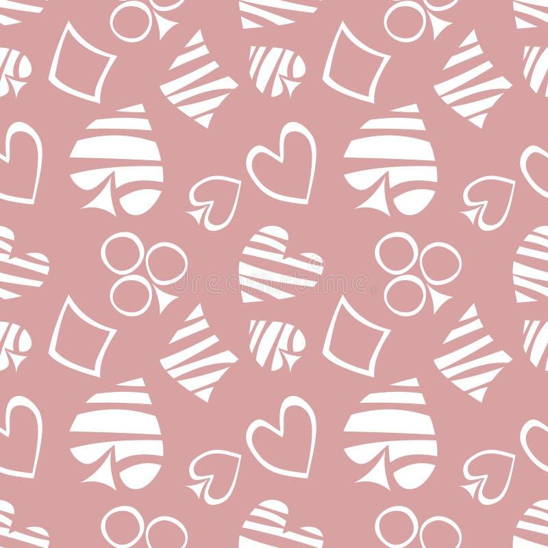 Nahtloses Vektormuster mit Ikonen von Spielkarten Hintergrund mit weiße Hand gezeichneten Symbolen auf dem rosa Hintergrund vektor abbildung