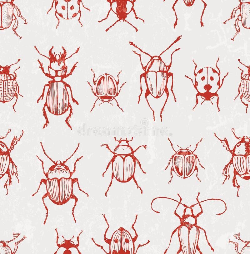 Nahtloses Vektormuster mit Käfern stock abbildung