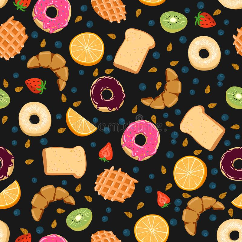 Nahtloses Vektormuster mit kawaii Frühstückssachen auf dem schwarzen Hintergrund perfekt für Packpapierhintergründe usw. lizenzfreies stockfoto