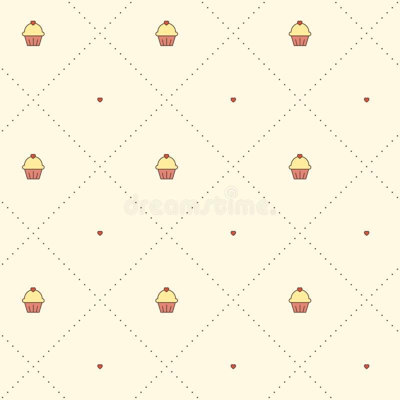 Nahtloses Vektormuster mit kleinen Kuchen und punktierten Linien stockfotografie