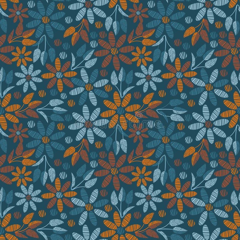 Nahtloses Vektormuster mit Knickente und orange Blumen vektor abbildung