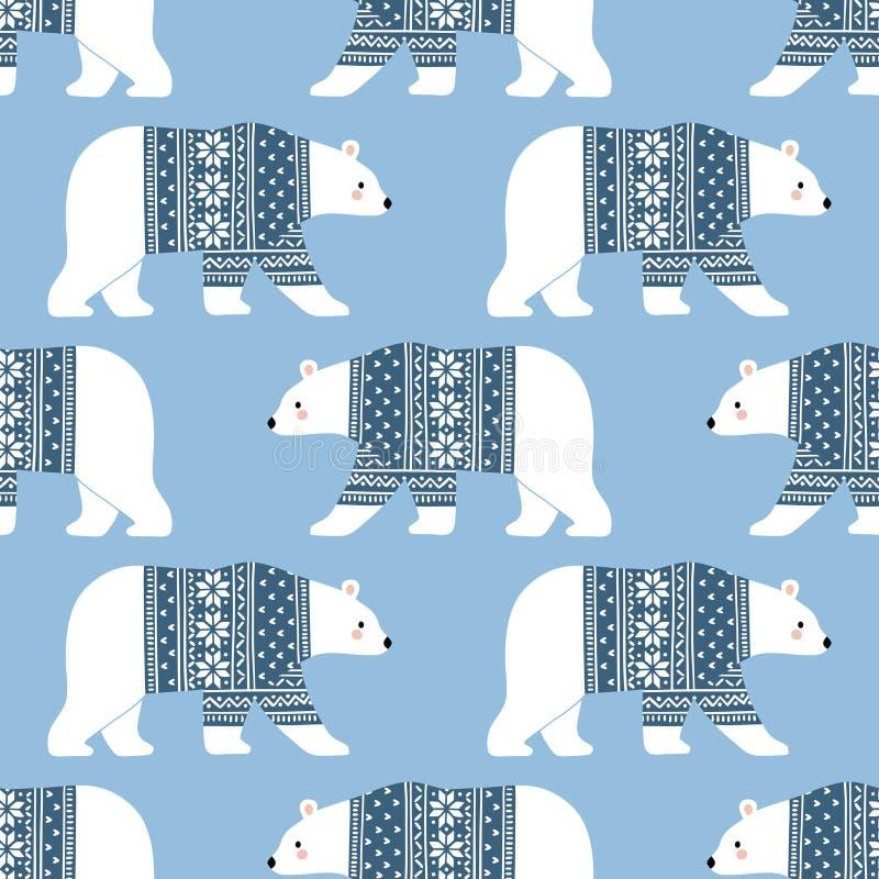 Nahtloses Vektormuster mit nette Handgezogenen Eisbären in der Winterkleidung lizenzfreie stockfotos