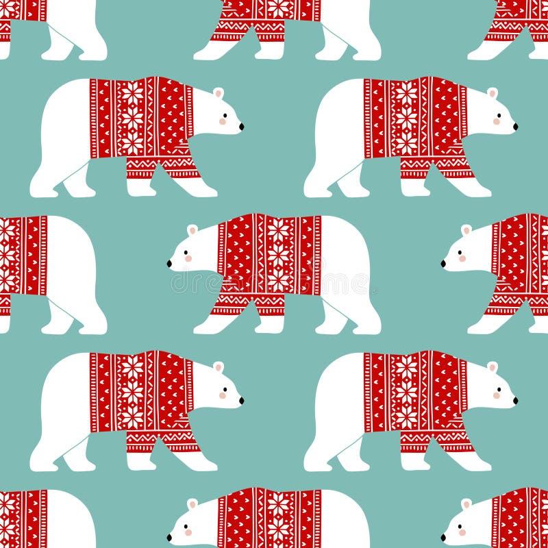 Nahtloses Vektormuster mit nette Handgezogenen Eisbären in der Winterkleidung lizenzfreies stockfoto
