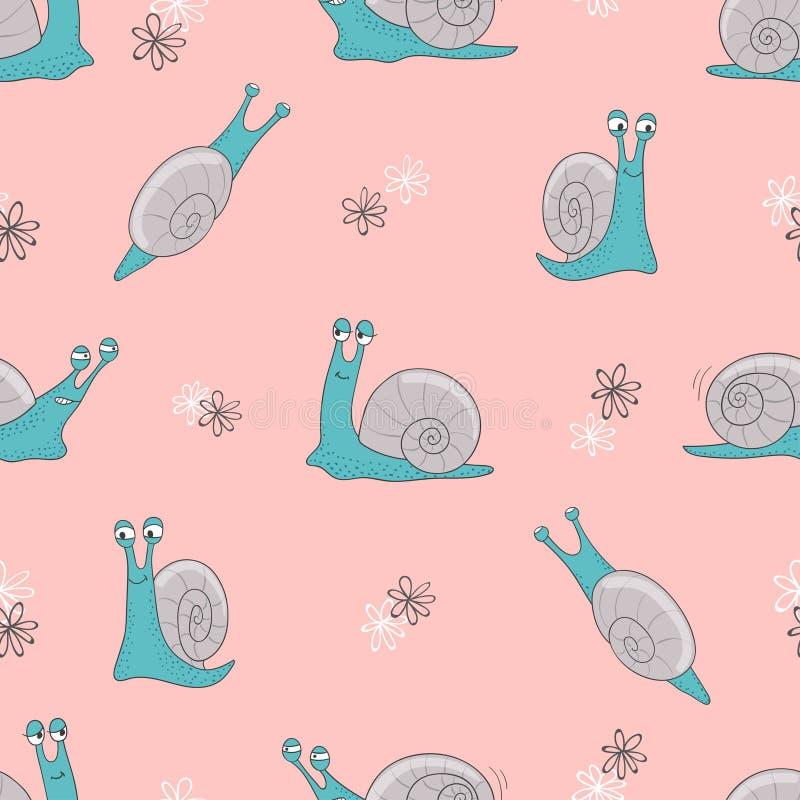 Nahtloses Vektormuster mit netten Karikaturschnecken auf Rosa stock abbildung
