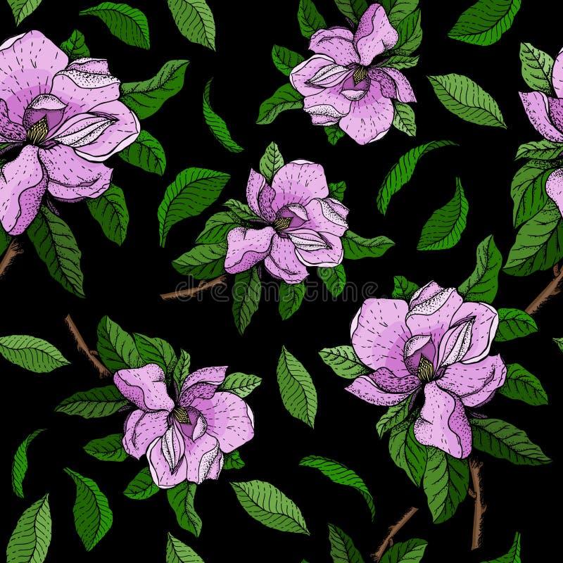 Nahtloses Vektormuster mit Niederlassungen von rosa Blumen und von grünen Blättern der Magnolie stock abbildung