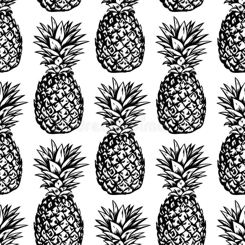 Nahtloses Vektormuster mit schwarzen Ananas auf weißem Hintergrund stock abbildung