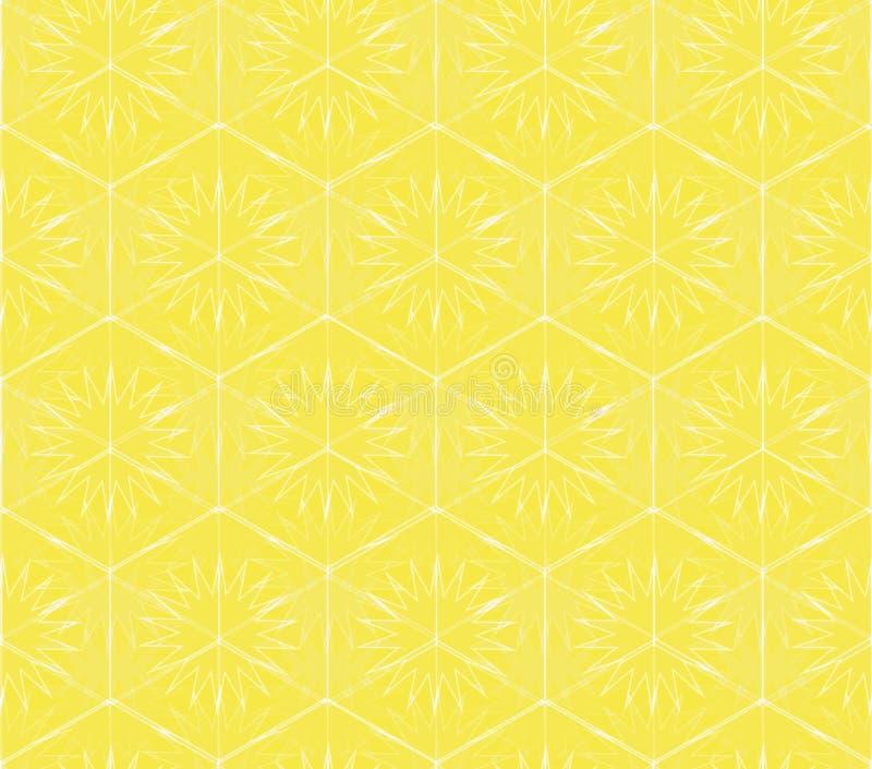 Nahtloses Vektormuster mit sechseckigen Formen und hellgelben Sonnen lizenzfreie abbildung