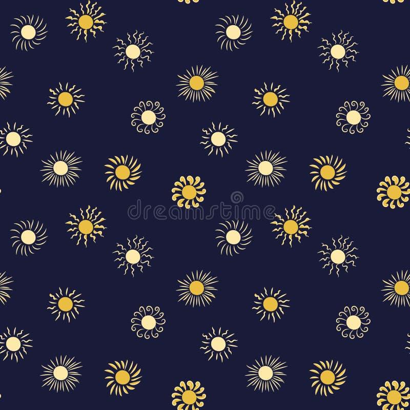 Nahtloses Vektormuster mit Sonnen auf einem dunklen Hintergrund vektor abbildung