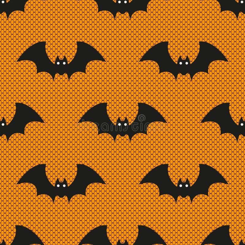 Nahtloses Vektormuster mit Spitze Halloween-Schlägern auf orange Hintergrund stock abbildung