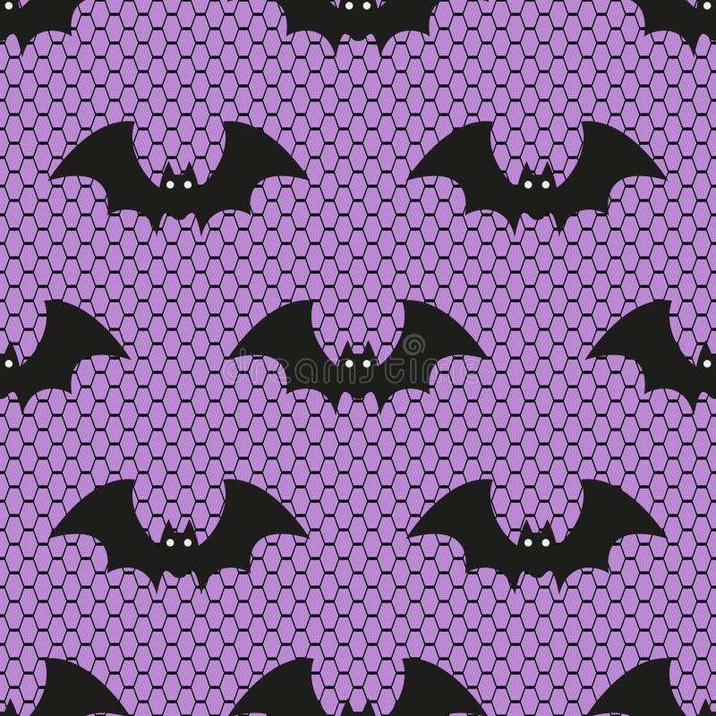Nahtloses Vektormuster mit Spitze Halloween-Schlägern auf purpurrotem Hintergrund vektor abbildung