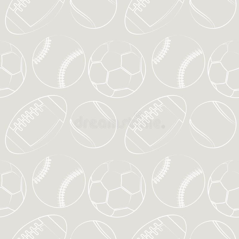 Nahtloses Vektormuster mit Sportausrüstung Grauer Hintergrund mit Tennisbällen, Fußball, Basketbällen und socer Bällen stock abbildung