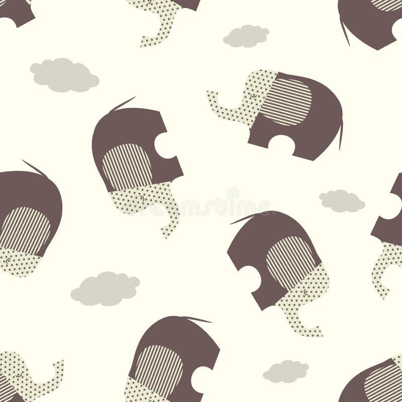 Nahtloses Vektormuster mit stilisierten braunen Elefanten auf einem beige Hintergrund lizenzfreie abbildung