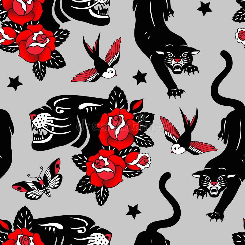 Nahtloses Vektormuster mit Tätowierungsrosen, schwarzen Panthern, Vögeln und Schmetterlingen auf grauem Hintergrund stock abbildung
