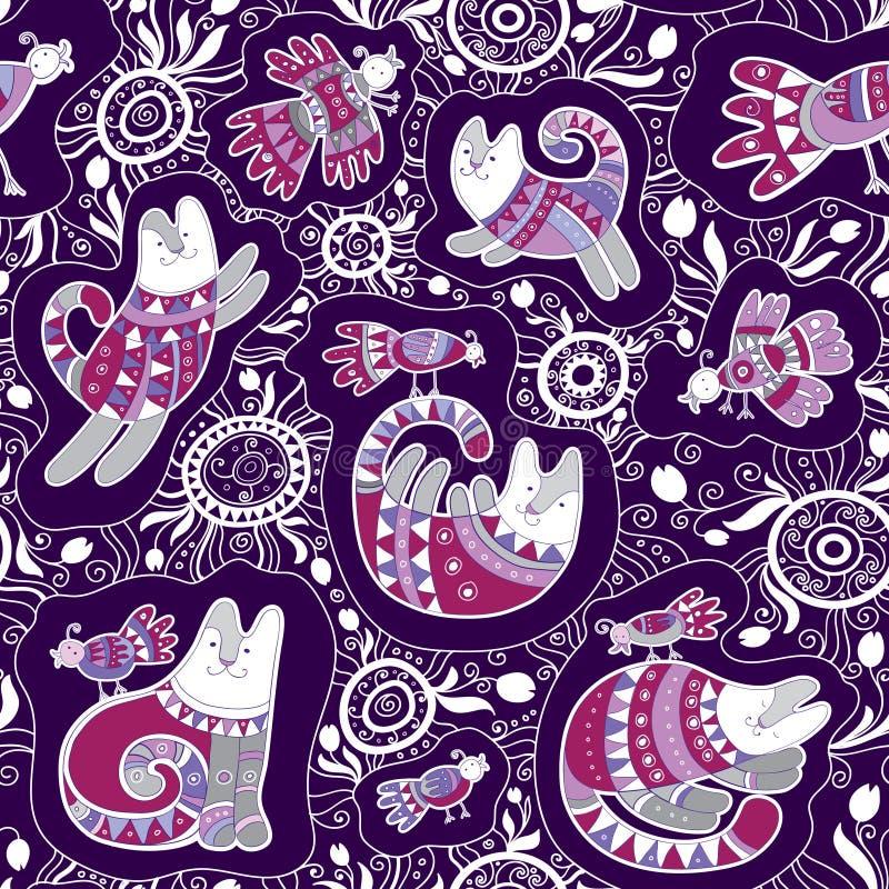 Nahtloses Vektormuster - nette Katzen und Vögel mit Spitzeethnischer und Blumenverzierung auf violettem Hintergrund vektor abbildung