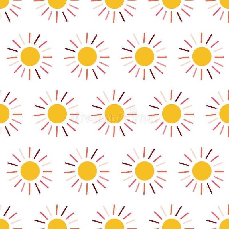 Nahtloses Vektormuster Sun Hintergrund mit gelb-orangee rosa korallenrote Handgezogener Sonnenillustration auf weißem Hintergrund vektor abbildung