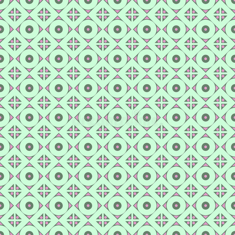 Nahtloses vektormuster Symmetrischer geometrischer abstrakter Hintergrund mit Raute und Kreise in den Türkisfarben vektor abbildung