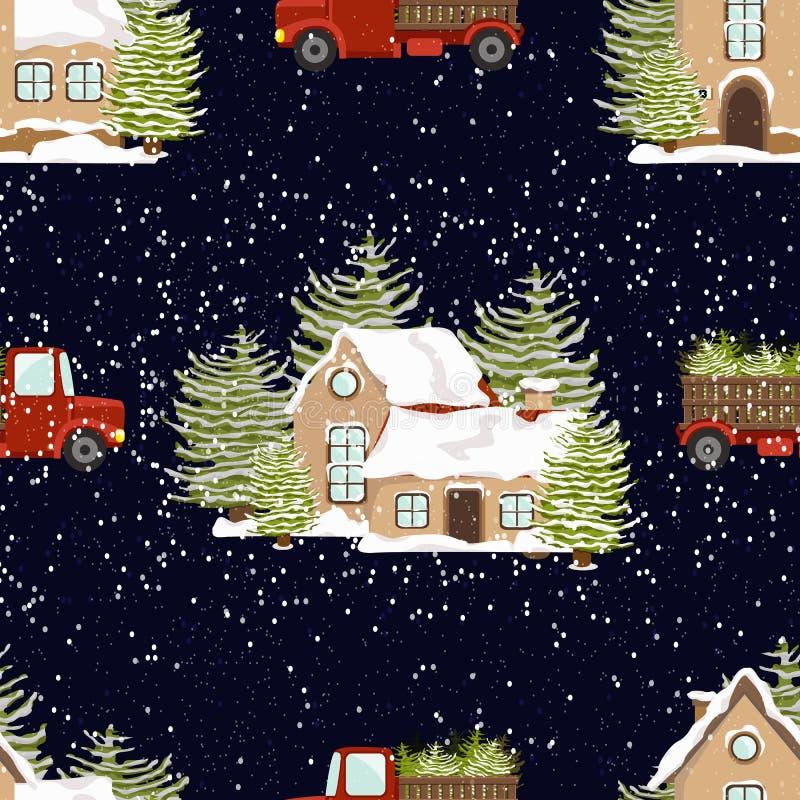 Nahtloses vektormuster Version ENV-8 Neues Jahr ` s und Weihnachten H?user im Schnee und rote LKWs mit gezierten B?umen stock abbildung