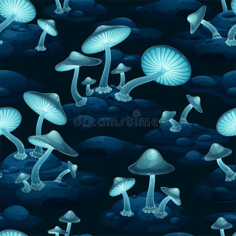 Nahtloses Vektormuster von fantastisch leuchtendem blauen Glühen von Pilzen lizenzfreie abbildung