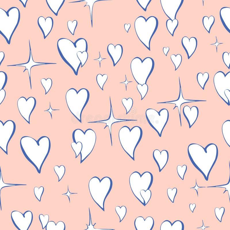 Nahtloses Vektormuster von Herzen mit Glanz in der Karikaturart stock abbildung