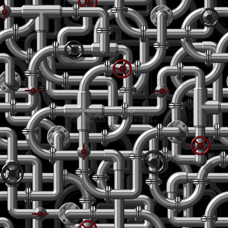 Nahtloses Vektormuster von verflechtenden Metallwasserleitungen mit Ventilen stock abbildung