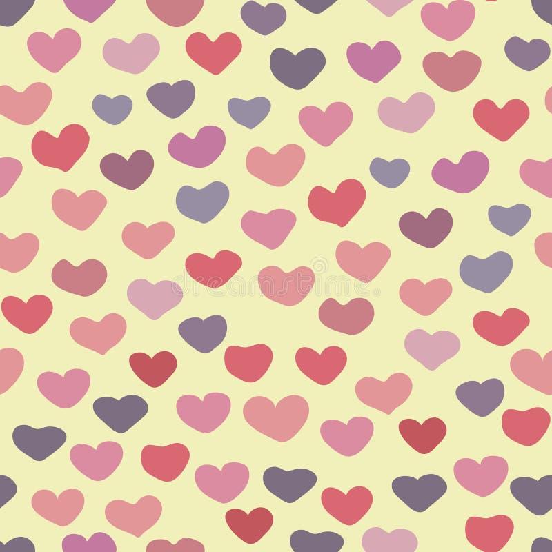 Nahtloses Vektorvalentinsgrußmuster mit bunten Herzen lizenzfreie abbildung