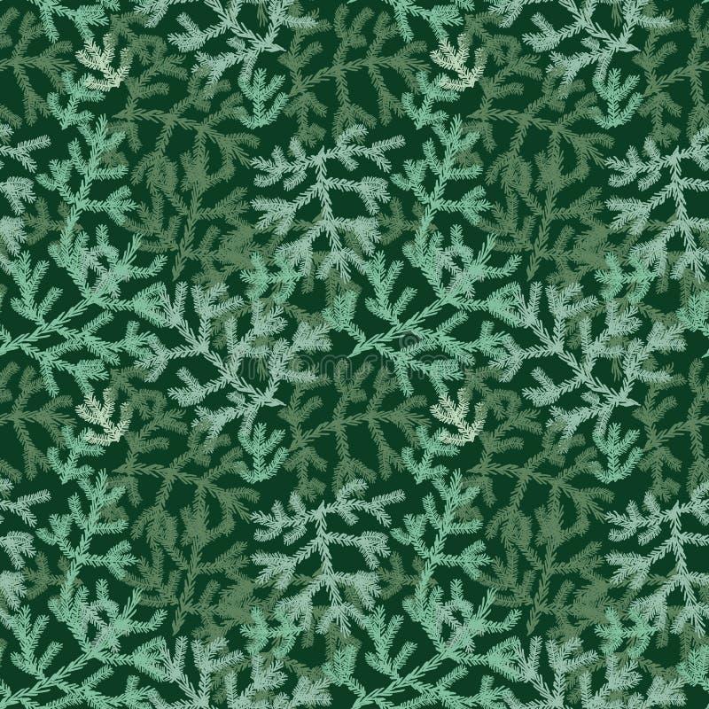 Nahtloses Vektorweihnachtsfeiertagsmuster mit grünen Baumasten lizenzfreie abbildung