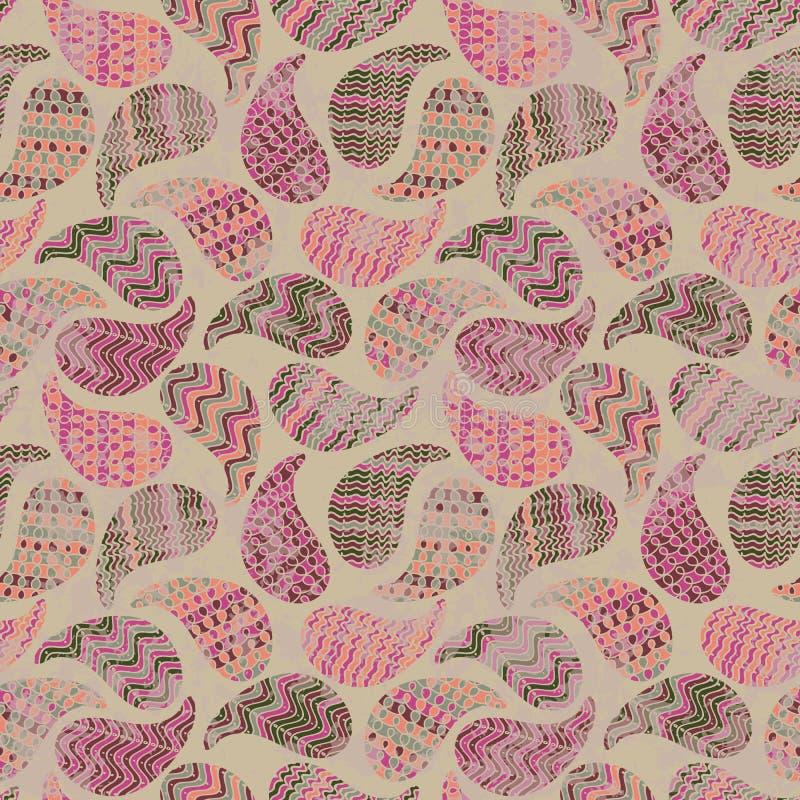 Nahtloses Vektorzusammenfassungsmuster mit tetured paisleys in den rosa Farben lizenzfreie abbildung