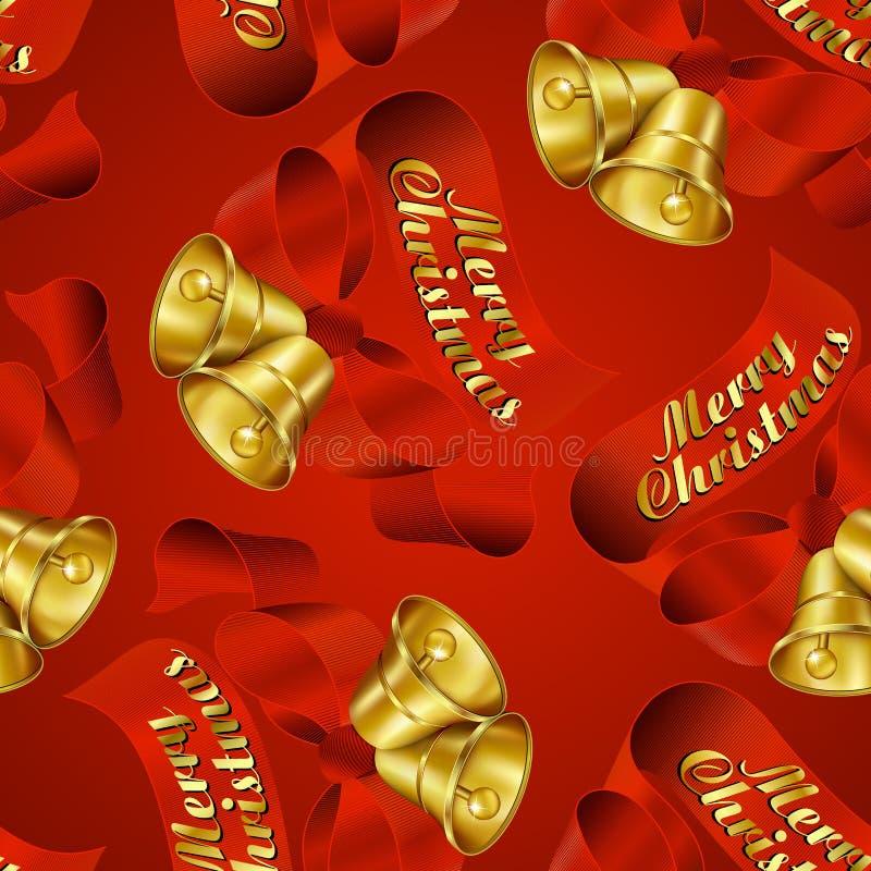 Nahtloses Verpackungspapier frohe Weihnacht-Bell vektor abbildung