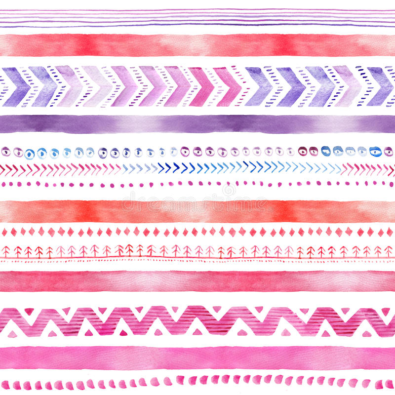 Nahtloses von Hand gezeichnetes Aquarell-ethnisches Stammes- dekoratives Muster lizenzfreie stockfotos