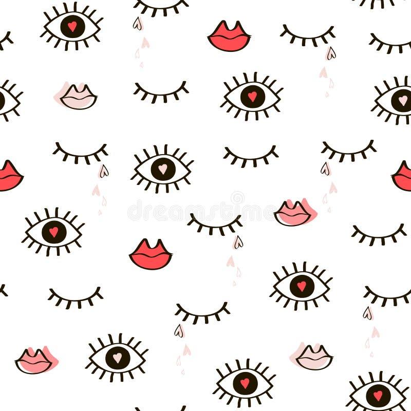 Nahtloses von Hand gezeichnetes Muster von geschlossenem und wachsame Augen, Lippen und er lizenzfreie abbildung