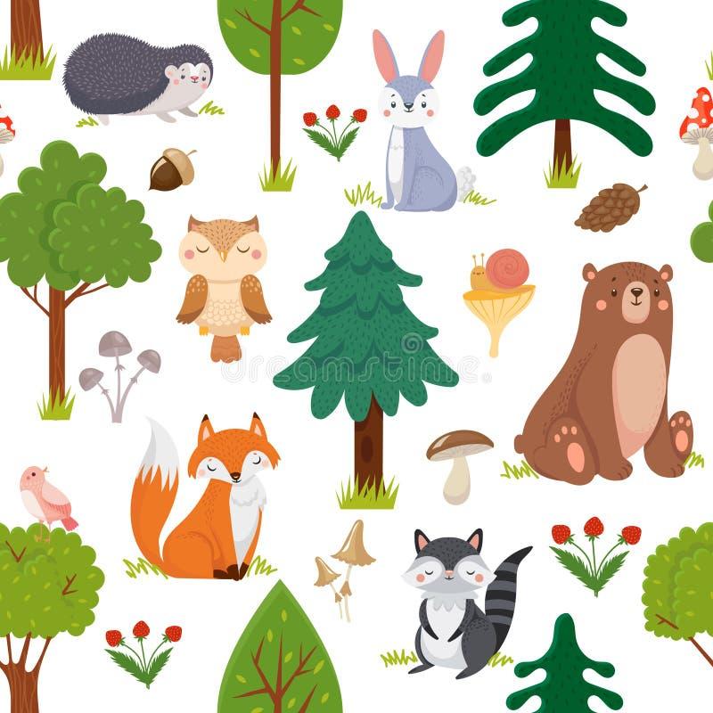 Nahtloses Waldtiermuster Tier- und Waldblumenkarikaturvektorhintergrund der Sommerwaldnetter wild lebenden Tiere stock abbildung