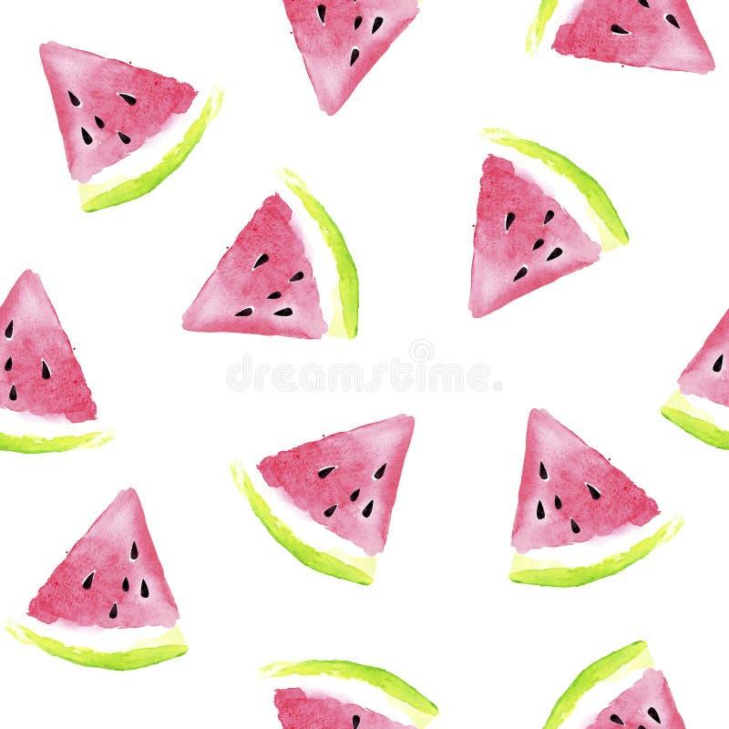 Nahtloses Wassermelonenmuster mit Aquarellwassermelonenscheiben, nahtlose Mustertapete des Sommers, Handgezogenes Aquarell stock abbildung