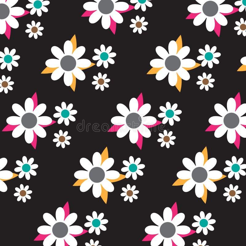 Nahtloses weißes Blumenmuster stock abbildung