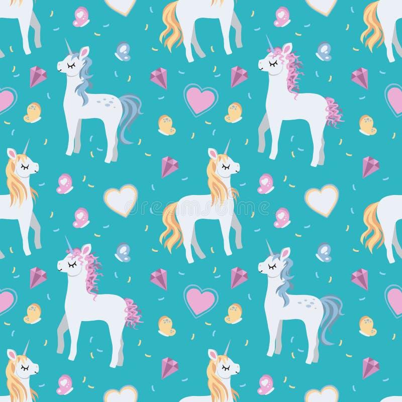 Nahtloses weißes Karikatureinhorn mit der blonden und rosa Mähne, den Herzen und den Schmetterlingen auf hellem Knickentenhinterg lizenzfreie abbildung