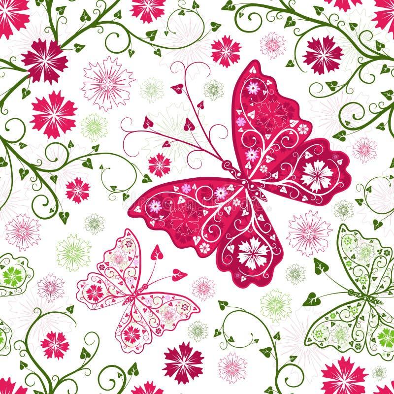 Nahtloses weißes mit Blumenmuster lizenzfreie abbildung