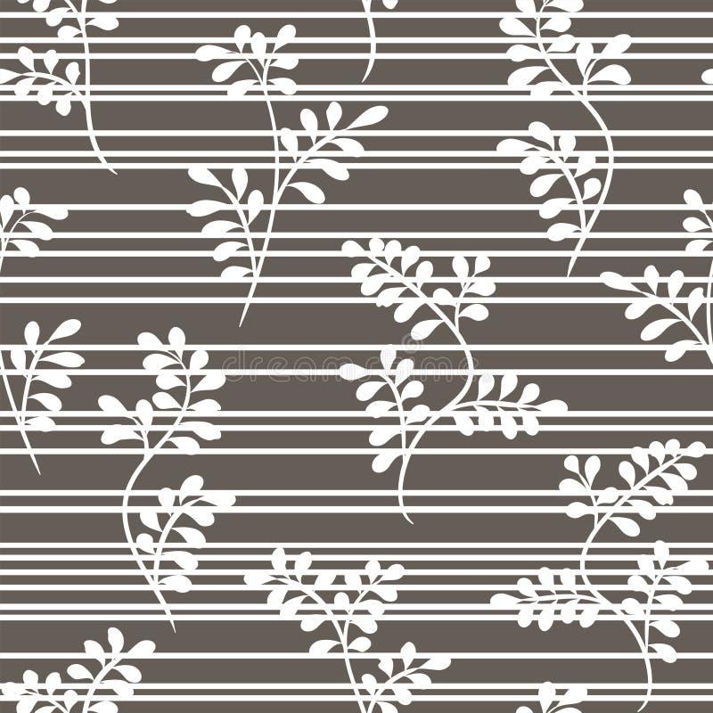 Nahtloses weißes mit Blumenmuster mit den Zweigen und den Streifen auf einem grauen Hintergrund Vektor lizenzfreie abbildung