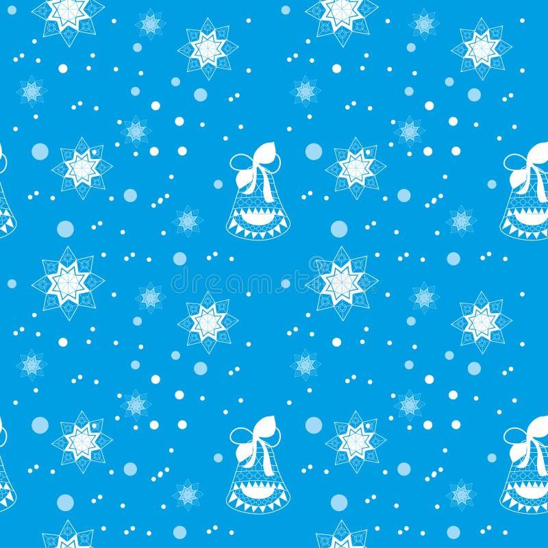 Nahtloses Weihnachtsblauer Hintergrund mit festlicher Glocke vektor abbildung
