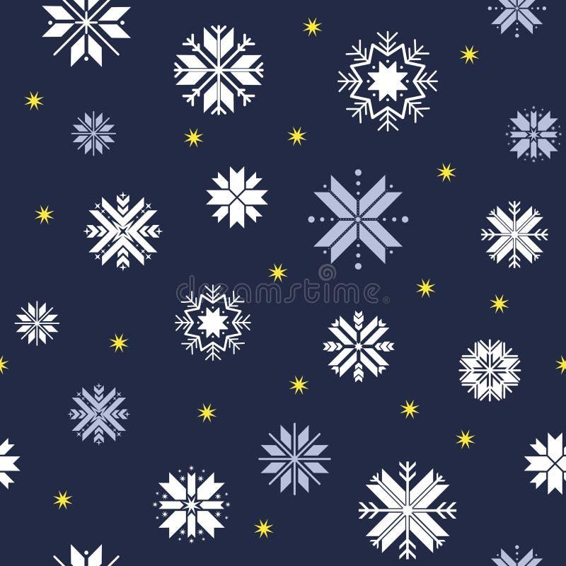 Nahtloses Weihnachtsmuster Blaues Muster mit weißen Schneeflocken und Goldsternen stock abbildung