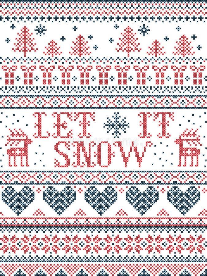 Nahtloses Weihnachtsmuster ließ es schneien die skandinavische Art, angespornt durch norwegisches Weihnachten, festlicher Winter  stock abbildung