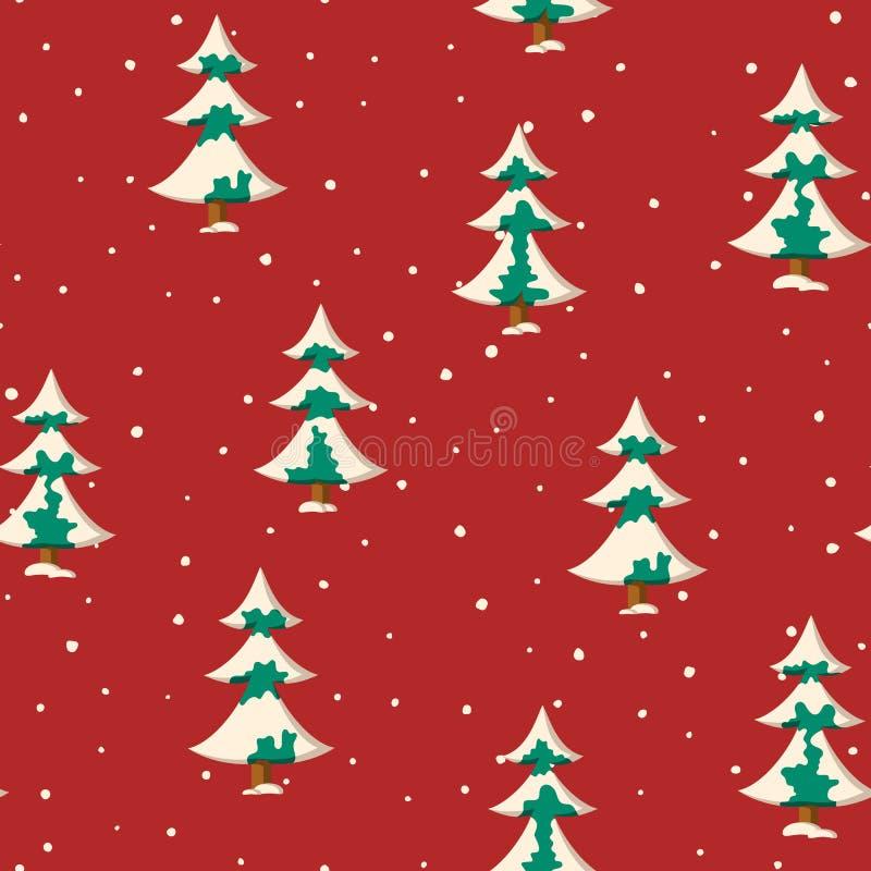 Nahtloses Weihnachtsmuster mit Ebene färbte schneebedeckte Tannenbäume lizenzfreie abbildung