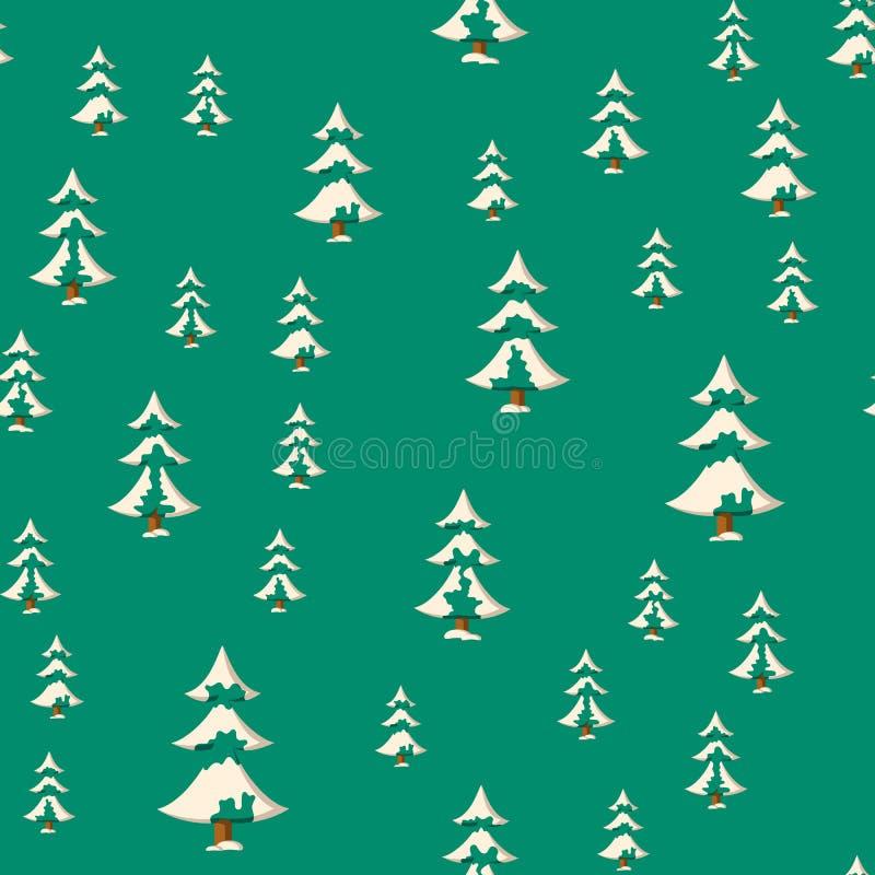 Nahtloses Weihnachtsmuster mit Ebene färbte schneebedeckte Tannenbäume stock abbildung