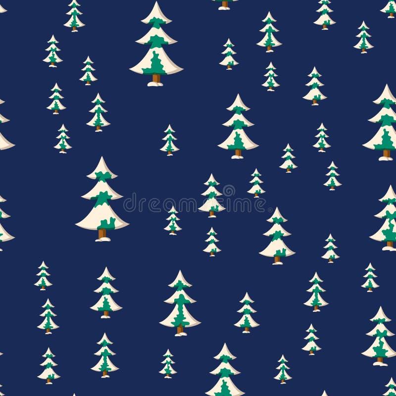 Nahtloses Weihnachtsmuster mit Ebene färbte schneebedeckte Tannenbäume vektor abbildung