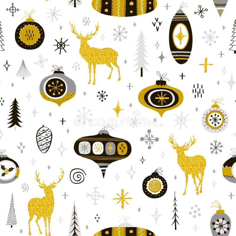 Nahtloses Weihnachtsmuster mit Handgezogenen Bällen, Schneeflocken und lizenzfreie abbildung