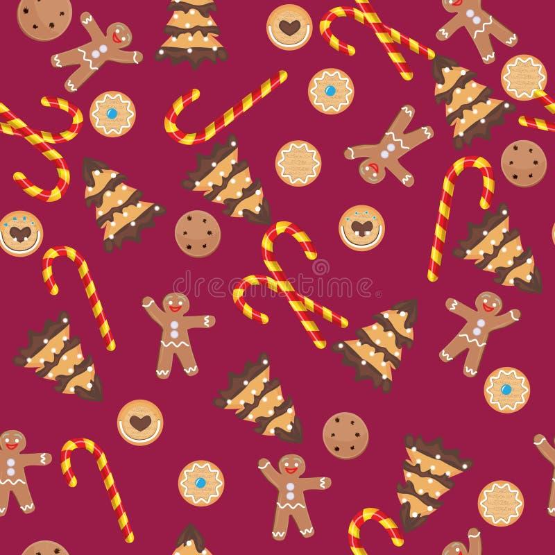 Nahtloses Weihnachtsmuster mit Lebkuchenmann, Plätzchen lizenzfreie stockfotos