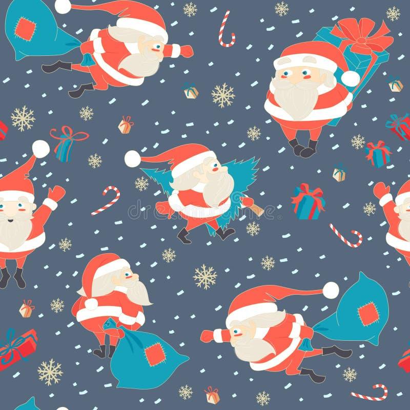 Nahtloses Weihnachtsmuster mit netter Santa Claus, Geschenken und c stock abbildung