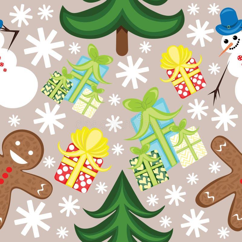 Nahtloses Weihnachtsmuster mit Schneemann- und Ingwerplätzchen vektor abbildung