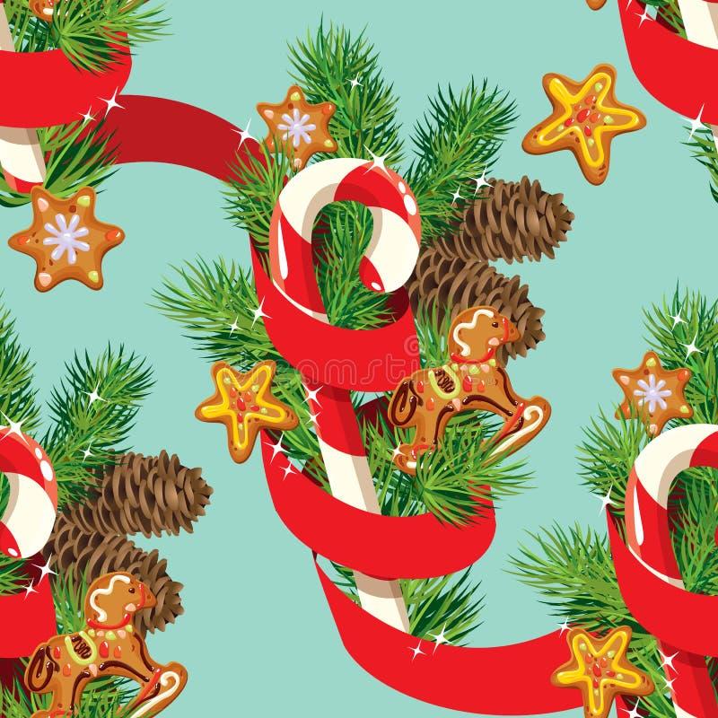 Nahtloses Weihnachtsmuster mit Weihnachtslebkuchen lizenzfreie abbildung
